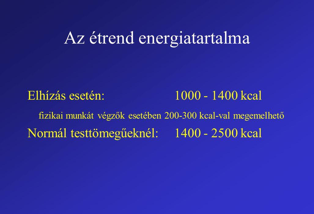 Az étrend energiatartalma Elhízás esetén:1000 - 1400 kcal fizikai munkát végzők esetében 200-300 kcal-val megemelhető Normál testtömegűeknél:1400 - 2500 kcal