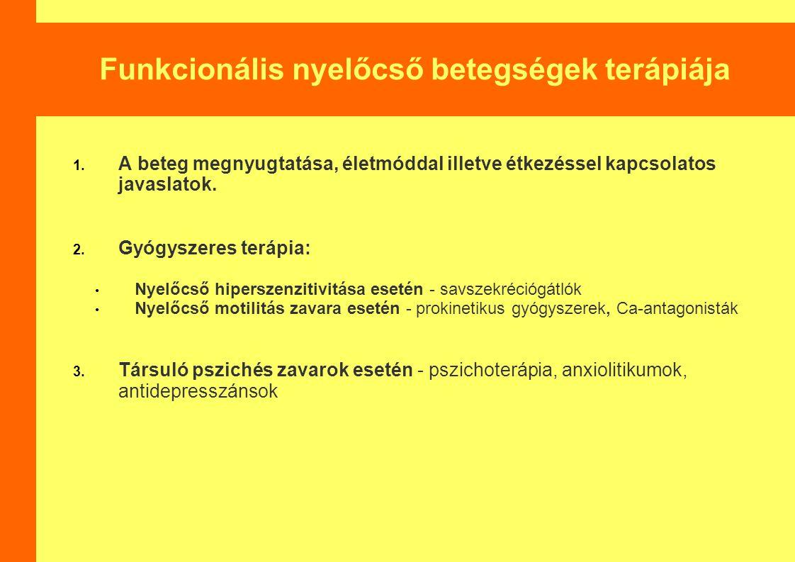 Funkcionális nyelőcső betegségek terápiája 1.