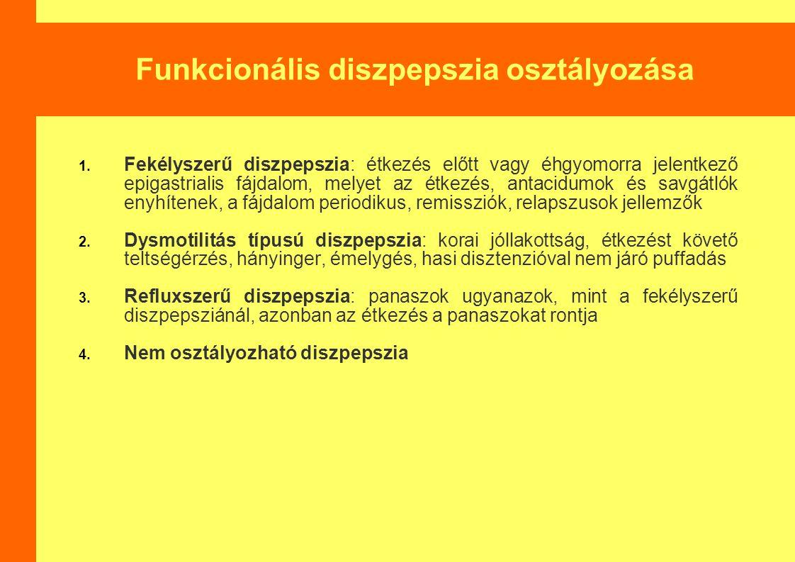 Funkcionális diszpepszia osztályozása 1. Fekélyszerű diszpepszia: étkezés előtt vagy éhgyomorra jelentkező epigastrialis fájdalom, melyet az étkezés,