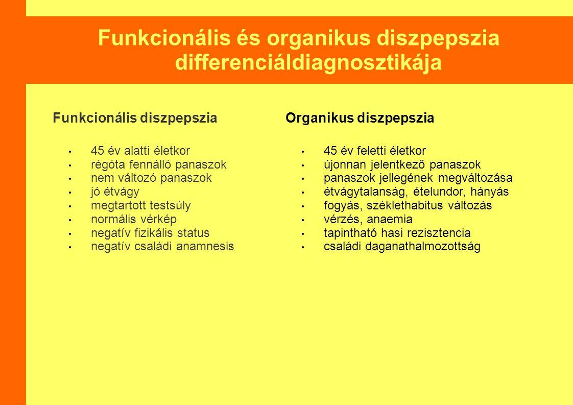 Funkcionális és organikus diszpepszia differenciáldiagnosztikája Funkcionális diszpepszia 45 év alatti életkor régóta fennálló panaszok nem változó pa
