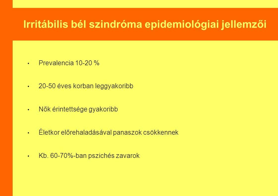 Irritábilis bél szindróma epidemiológiai jellemzői Prevalencia 10-20 % 20-50 éves korban leggyakoribb Nők érintettsége gyakoribb Életkor előrehaladásá