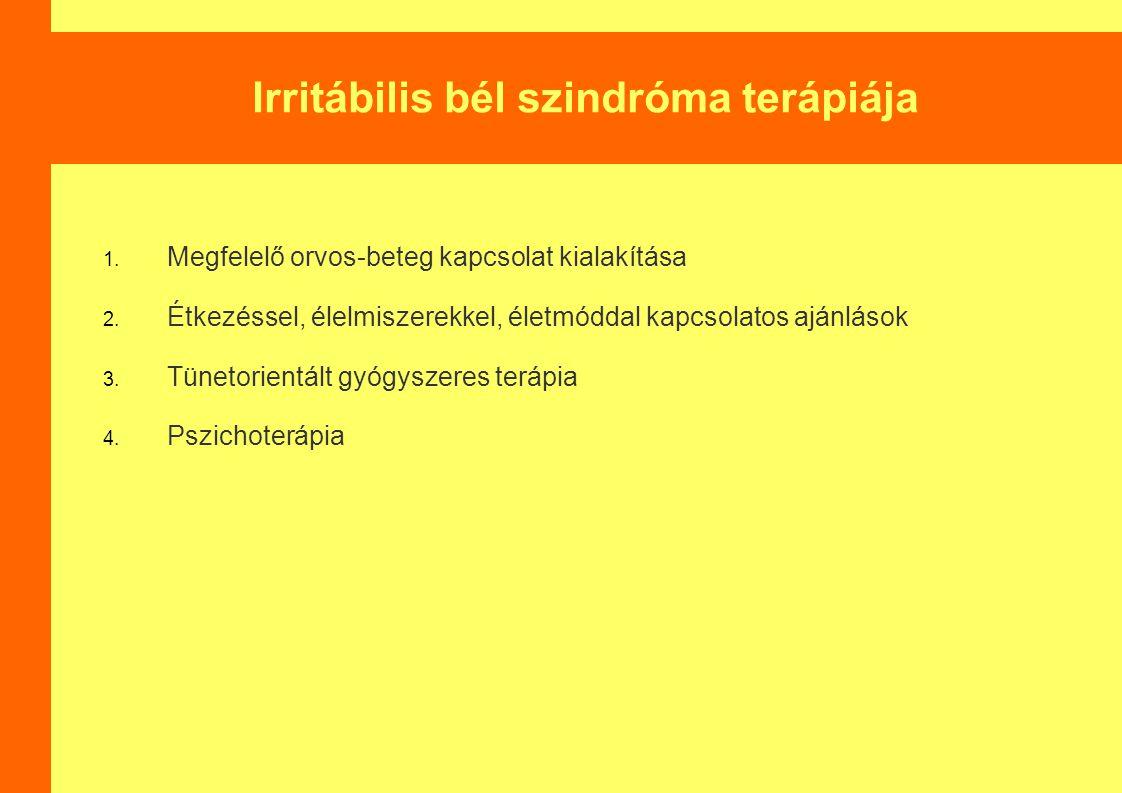 Irritábilis bél szindróma terápiája 1.Megfelelő orvos-beteg kapcsolat kialakítása 2.