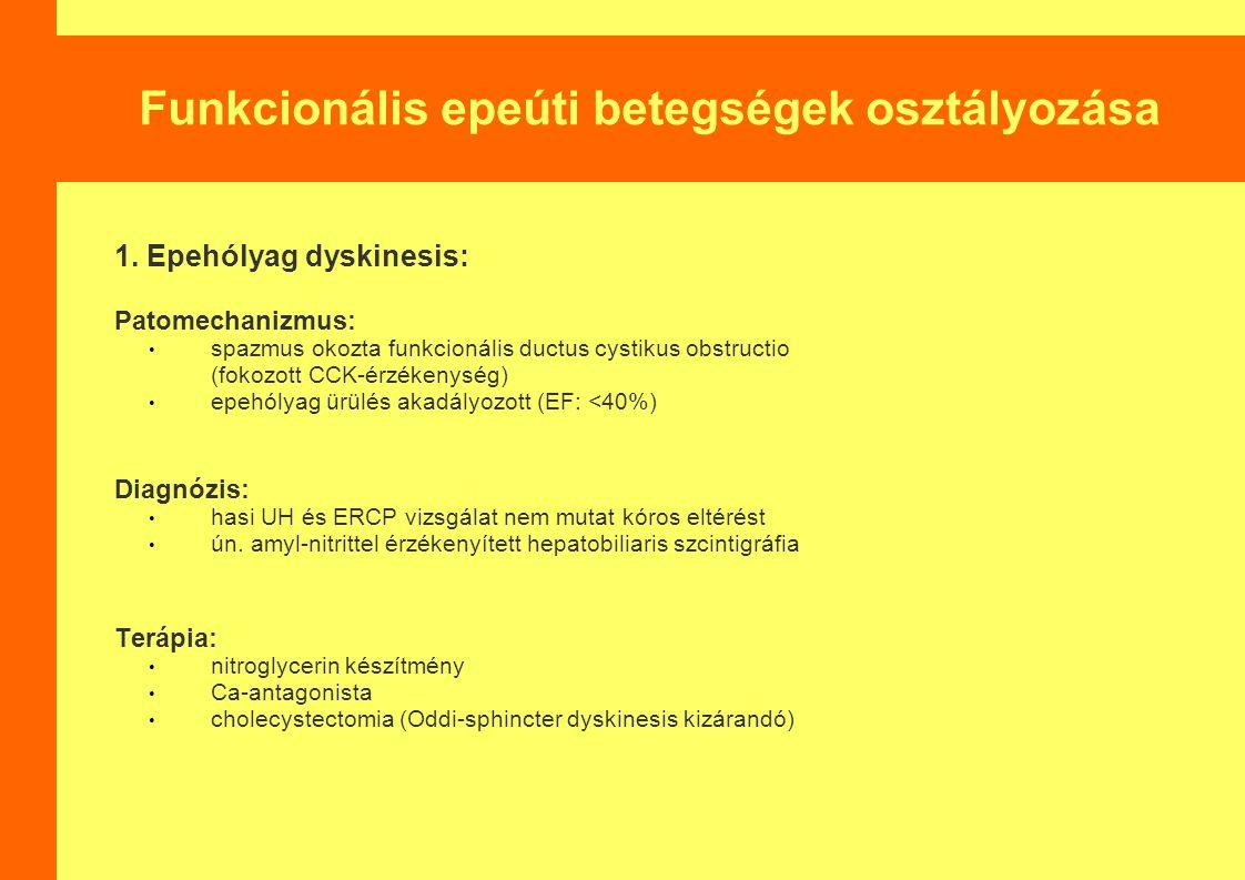 Funkcionális epeúti betegségek osztályozása 1.