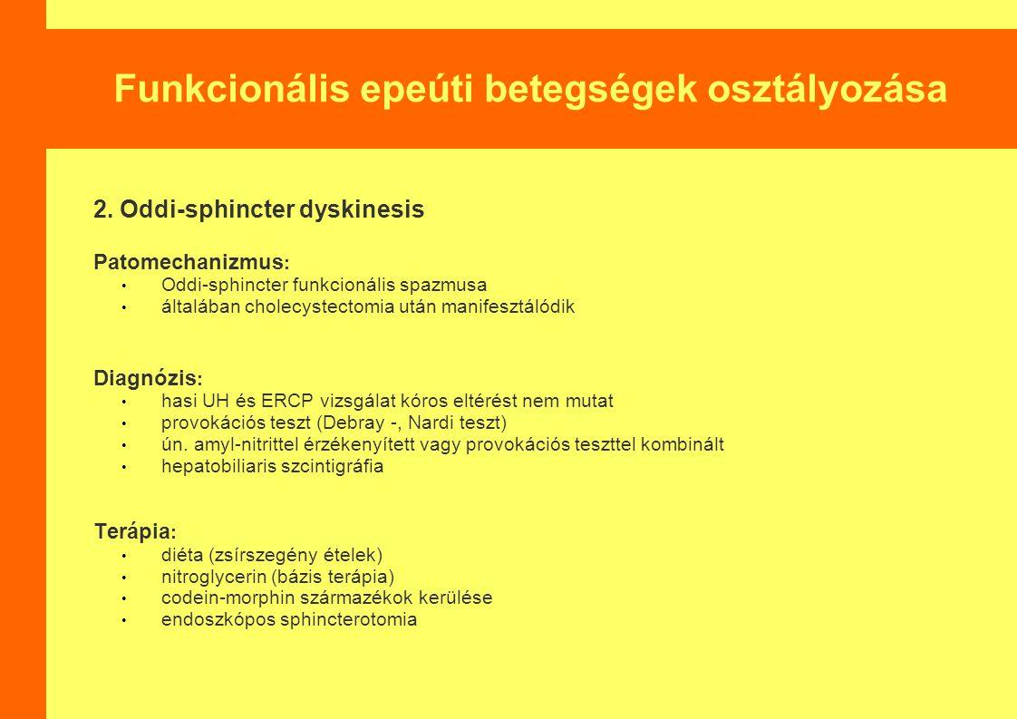 Funkcionális epeúti betegségek osztályozása 2. Oddi-sphincter dyskinesis Patomechanizmus : Oddi-sphincter funkcionális spazmusa általában cholecystect