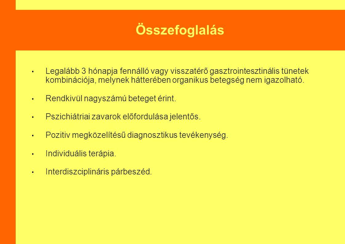 Összefoglalás Legalább 3 hónapja fennálló vagy visszatérő gasztrointesztinális tünetek kombinációja, melynek hátterében organikus betegség nem igazolható.