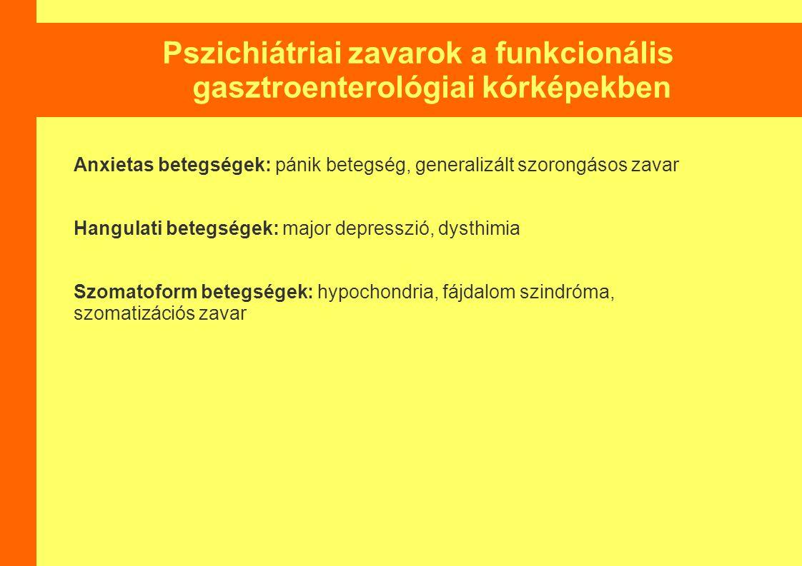 Pszichiátriai zavarok a funkcionális gasztroenterológiai kórképekben Anxietas betegségek: pánik betegség, generalizált szorongásos zavar Hangulati betegségek: major depresszió, dysthimia Szomatoform betegségek: hypochondria, fájdalom szindróma, szomatizációs zavar