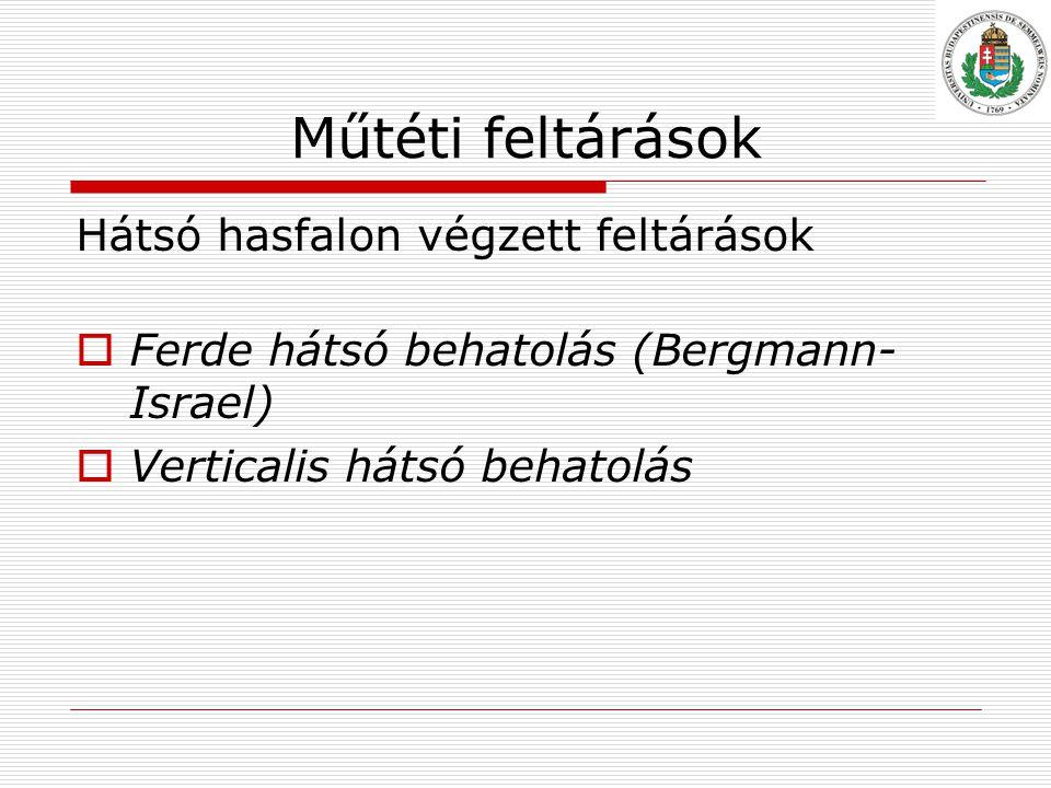 Műtéti feltárások Hátsó hasfalon végzett feltárások  Ferde hátsó behatolás (Bergmann- Israel)  Verticalis hátsó behatolás