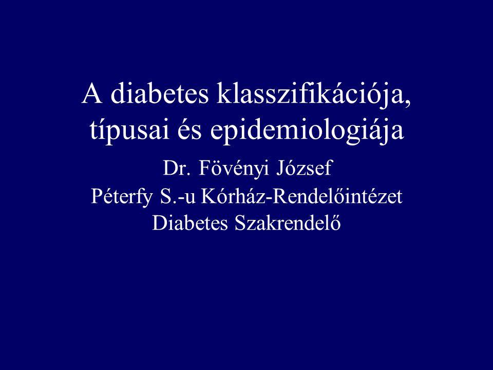 Nem diagnosztizált és diagnosztizált diabetes valamint IGT prevalenciája az amerikai populációban (20-74 év között) % Kor (évek) IGT Undiagnosed diabetes Diagnosed diabetes Harris MI Diabetes Care 1993, 16:642-52 Nem diagnosz- tizált diabetes Diagnosztizált diabetes