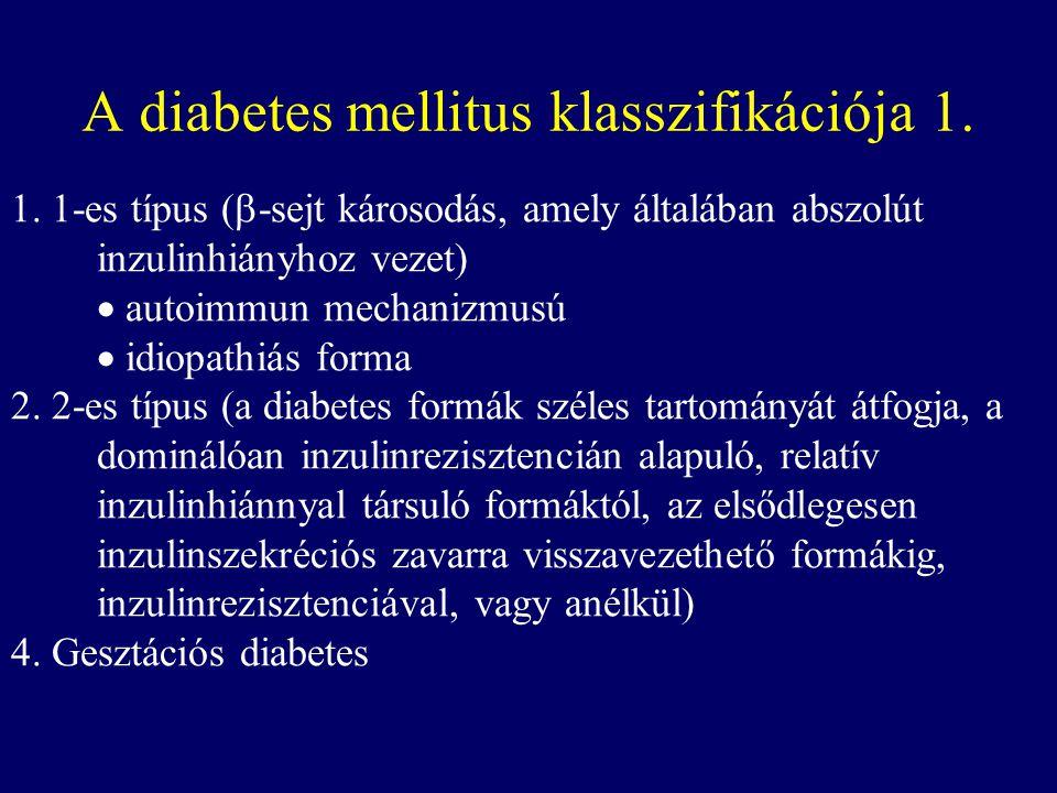 A diabetes mellitus klasszifikációja 1. 1. 1-es típus (  -sejt károsodás, amely általában abszolút inzulinhiányhoz vezet)  autoimmun mechanizmusú 