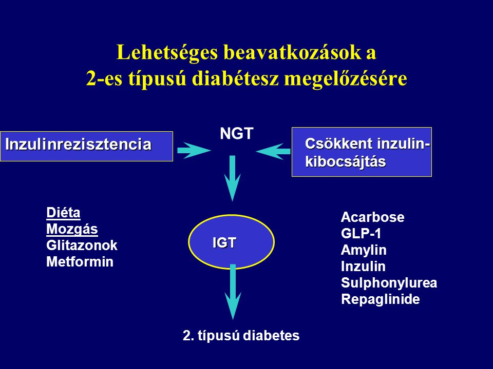 Lehetséges beavatkozások a 2-es típusú diabétesz megelőzésére Inzulinrezisztencia NGT Csökkent inzulin- kibocsájtás Diéta Mozgás Glitazonok Metformin