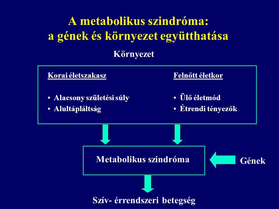 Környezet Korai életszakasz Alacsony születési súly Alultápláltság Felnőtt életkor Ülő életmód Étrendi tényezők Szív- érrendszeri betegség Gének Metab