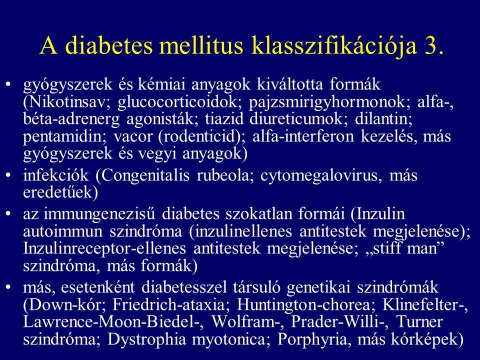 A diabetes mellitus klasszifikációja 3. gyógyszerek és kémiai anyagok kiváltotta formák (Nikotinsav; glucocorticoidok; pajzsmirigyhormonok; alfa-, bét