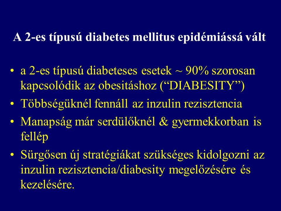 """A 2-es típusú diabetes mellitus epidémiássá vált a 2-es típusú diabeteses esetek ~ 90% szorosan kapcsolódik az obesitáshoz (""""DIABESITY"""") Többségüknél"""