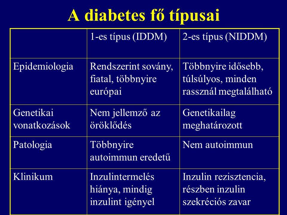A diabetes fő típusai 1-es típus (IDDM)2-es típus (NIDDM) EpidemiologiaRendszerint sovány, fiatal, többnyire európai Többnyire idősebb, túlsúlyos, min