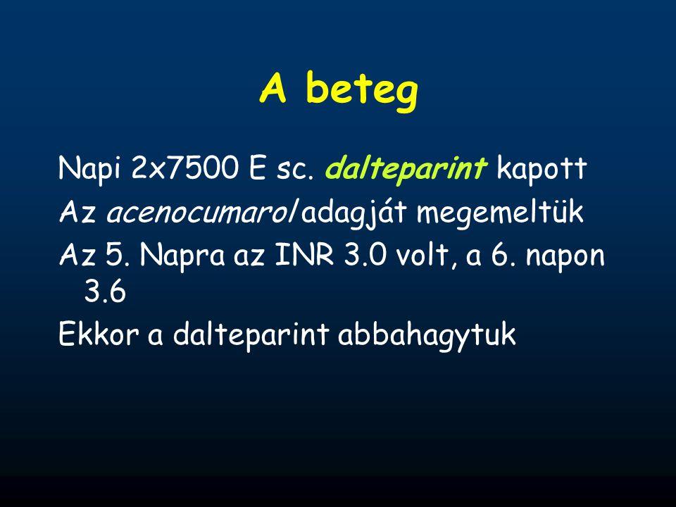 A beteg Napi 2x7500 E sc. dalteparint kapott Az acenocumarol adagját megemeltük Az 5. Napra az INR 3.0 volt, a 6. napon 3.6 Ekkor a dalteparint abbaha