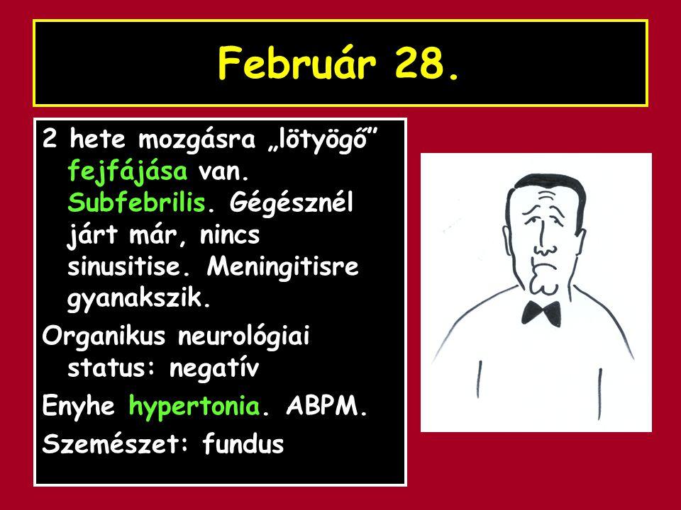"""Február 28. 2 hete mozgásra """"lötyögő"""" fejfájása van. Subfebrilis. Gégésznél járt már, nincs sinusitise. Meningitisre gyanakszik. Organikus neurológiai"""
