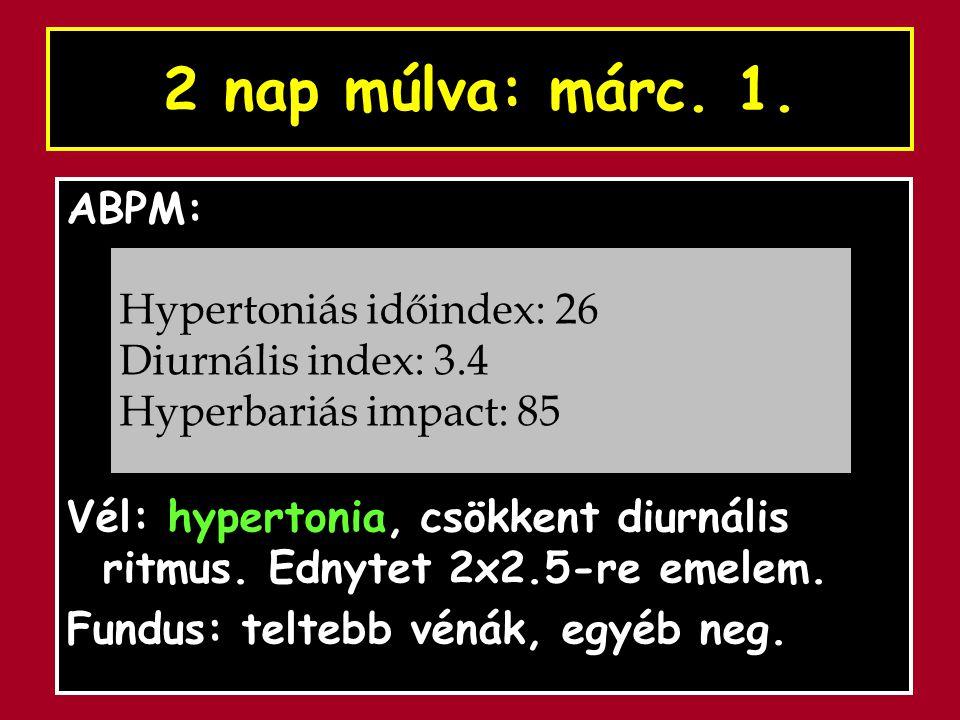 2 nap múlva: márc. 1. ABPM: Vél: hypertonia, csökkent diurnális ritmus. Ednytet 2x2.5-re emelem. Fundus: teltebb vénák, egyéb neg. Hypertoniás időinde