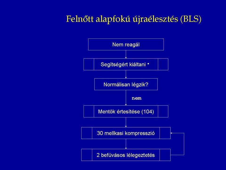 Hirtelen kezdődő mellkasi fájdalom (karokba, állkapocsba, hátba, epigastriumba sugározhat) Sápadtság, verítékezés, gyengeségérzés, halálfélelem Betegvizsgálat RR, pulzus, fizikális vizsgálat, EKG Akut ST eleváció, Frissen kialakuló bal-Tawara-szár-blokk STEMI ST elevációs miokardiális infarktus Nitroglicerin teszt Szűnik a mellkasi fájdalomNem szűnik a mellkasi fájdalom NSTEMI Nem ST elevációs miokardiális infarktus Instabil angina Negatív A mellkasi fájdalom további differenciáldiagnosztikája, nem kardiális okok keresése Helyszíni ellátás Akut mellkasi fájdalom esetén kötelező a helyszíni EKG