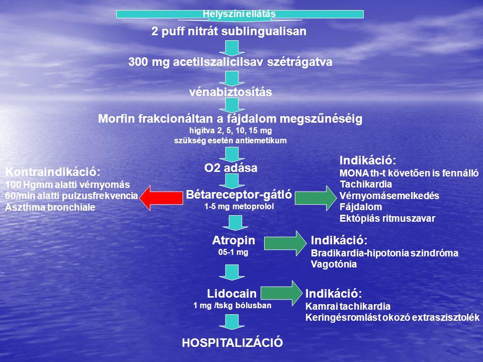 Helyszíni ellátás 2 puff nitrát sublingualisan 300 mg acetilszalicilsav szétrágatva vénabiztosítás Morfin frakcionáltan a fájdalom megszűnéséig hígítv