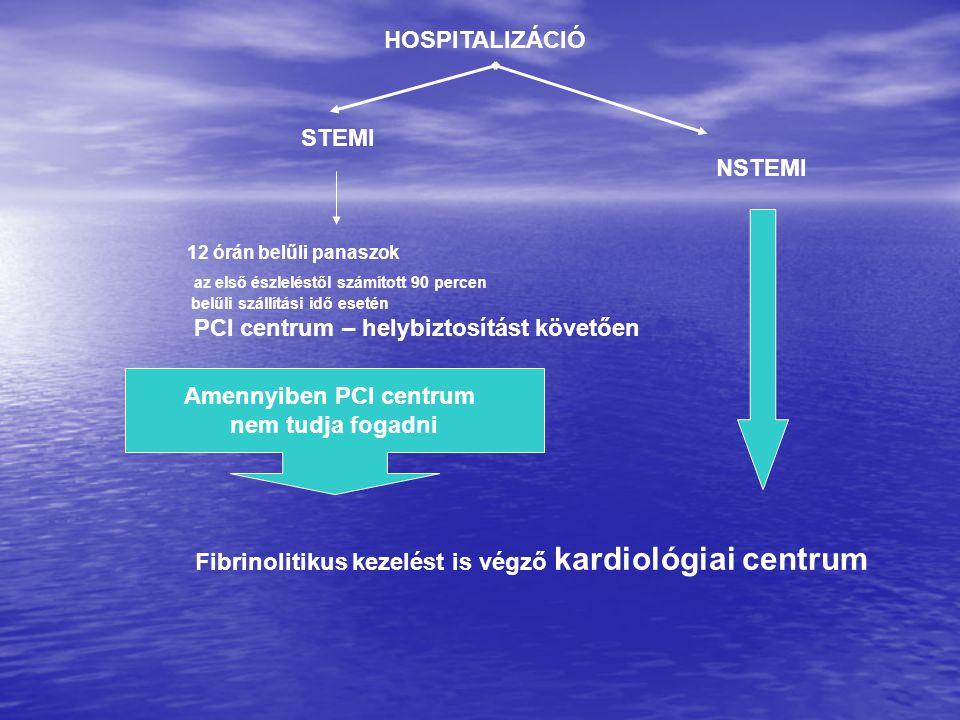 STEMI NSTEMI 12 órán belűli panaszok az első észleléstől számított 90 percen belűli szállítási idő esetén PCI centrum – helybiztosítást követően Amenn