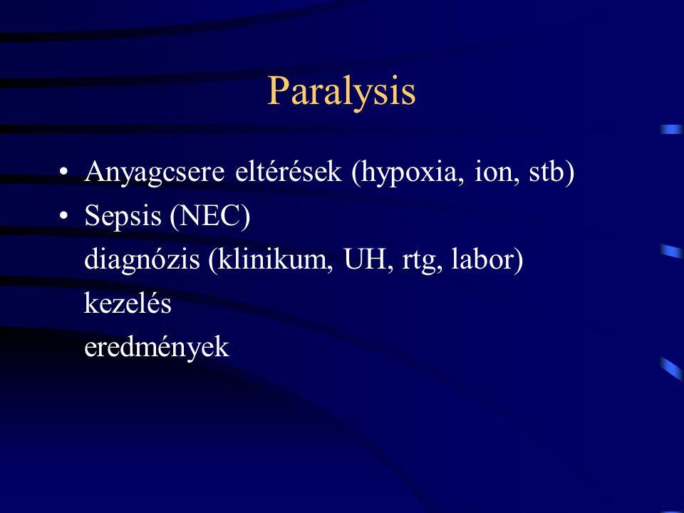 Paralysis Anyagcsere eltérések (hypoxia, ion, stb) Sepsis (NEC) diagnózis (klinikum, UH, rtg, labor) kezelés eredmények