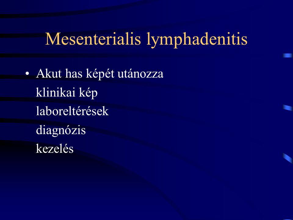 Mesenterialis lymphadenitis Akut has képét utánozza klinikai kép laboreltérések diagnózis kezelés