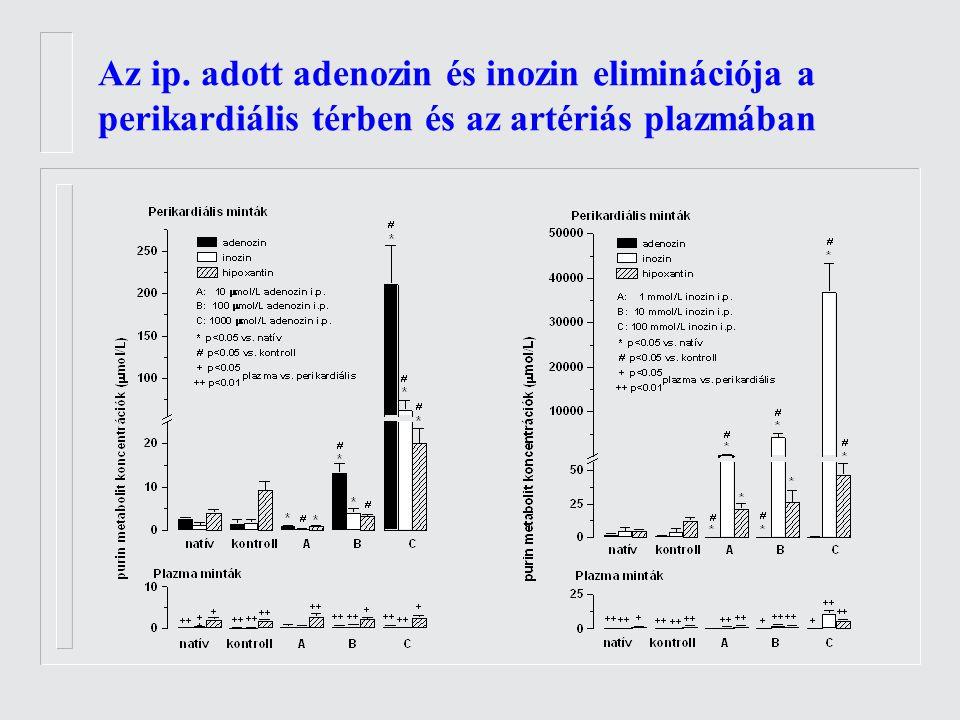 Az ip. adott adenozin és inozin eliminációja a perikardiális térben és az artériás plazmában