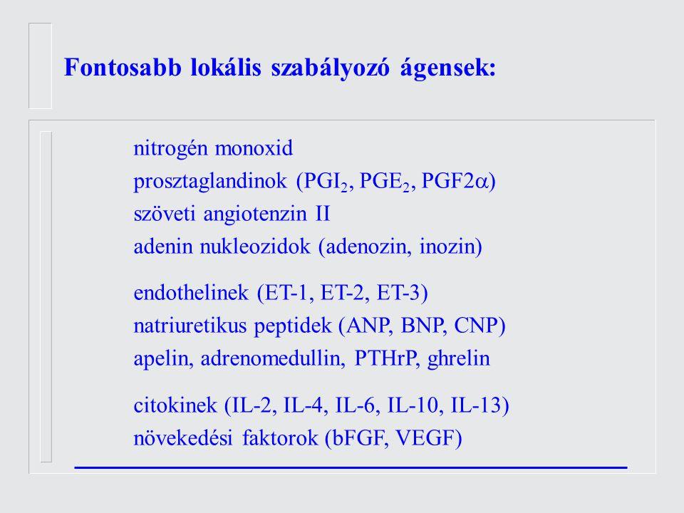 nitrogén monoxid prosztaglandinok (PGI 2, PGE 2, PGF2  ) szöveti angiotenzin II adenin nukleozidok (adenozin, inozin) endothelinek (ET-1, ET-2, ET-3) natriuretikus peptidek (ANP, BNP, CNP) apelin, adrenomedullin, PTHrP, ghrelin citokinek (IL-2, IL-4, IL-6, IL-10, IL-13) növekedési faktorok (bFGF, VEGF) Fontosabb lokális szabályozó ágensek:
