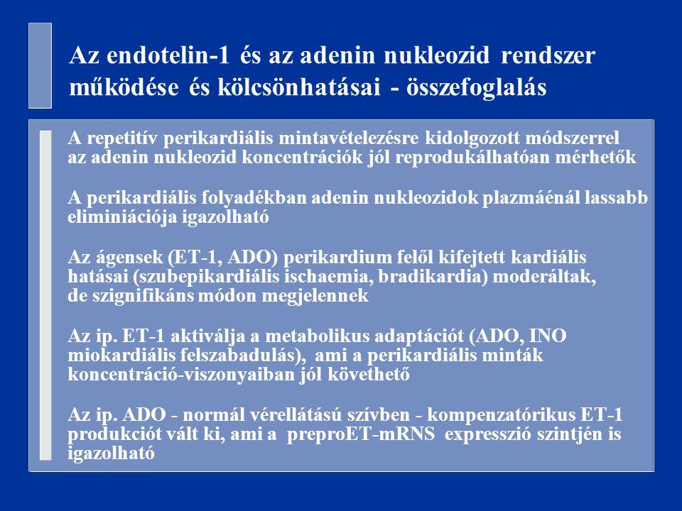 Az endotelin-1 és az adenin nukleozid rendszer működése és kölcsönhatásai - összefoglalás A repetitív perikardiális mintavételezésre kidolgozott módszerrel az adenin nukleozid koncentrációk jól reprodukálhatóan mérhetők A perikardiális folyadékban adenin nukleozidok plazmáénál lassabb eliminiációja igazolható Az ágensek (ET-1, ADO) perikardium felől kifejtett kardiális hatásai (szubepikardiális ischaemia, bradikardia) moderáltak, de szignifikáns módon megjelennek Az ip.