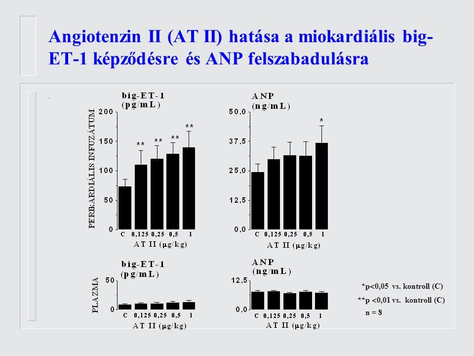 Angiotenzin II (AT II) hatása a miokardiális big- ET-1 képződésre és ANP felszabadulásra.