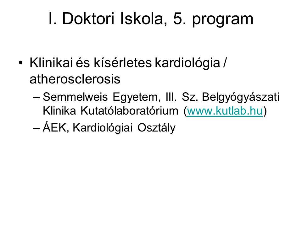 I. Doktori Iskola, 5. program Klinikai és kísérletes kardiológia / atherosclerosis –Semmelweis Egyetem, III. Sz. Belgyógyászati Klinika Kutatólaborató