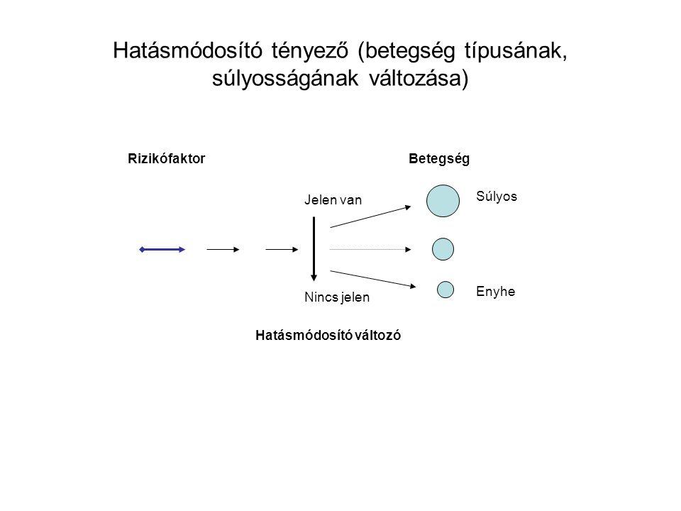 Rizikófaktor Hatásmódosító változó Betegség Súlyos Enyhe Jelen van Nincs jelen Hatásmódosító tényező (betegség típusának, súlyosságának változása)