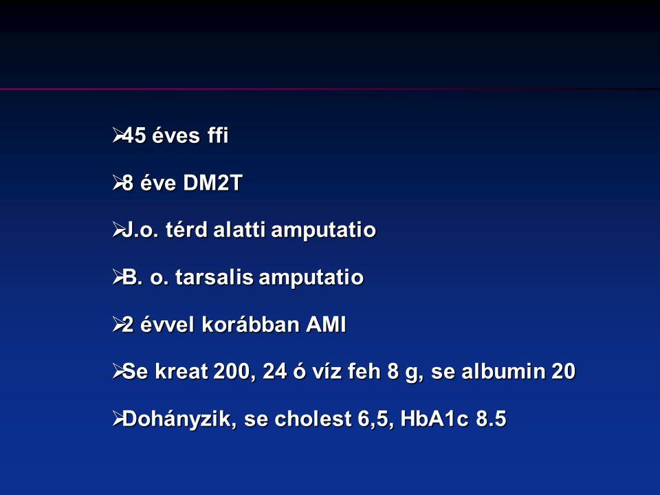  62 éves ffi, szűrés során vc 9.2  BMI 30  Dohányzik, RR 140/80, se cholest 5,8, HbA1c 7.5  Se kreat 80, MAU 250 mg/24 ó  .