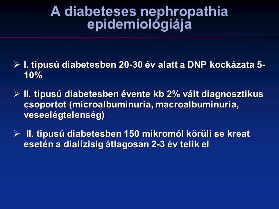 Cardiovascularis rizikótényezők gyakorisága diabetesben Hypertension 100% 80% 60% 40% 20% 0% 90% MicroalbuminuriaHypercholesterolemi a % of diabetic patients 25% 40% 7 Hypertension - >140/90 mm Hg MAU - 30-300 mg/24 h Hypercholesterolemia - TC > 5.2 mmol/L Parving H-H.