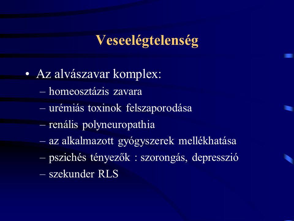 Veseelégtelenség Az alvászavar komplex: –homeosztázis zavara –urémiás toxinok felszaporodása –renális polyneuropathia –az alkalmazott gyógyszerek mell