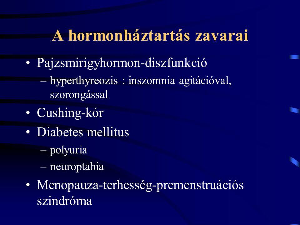 A hormonháztartás zavarai Pajzsmirigyhormon-diszfunkció –hyperthyreozis : inszomnia agitációval, szorongással Cushing-kór Diabetes mellitus –polyuria