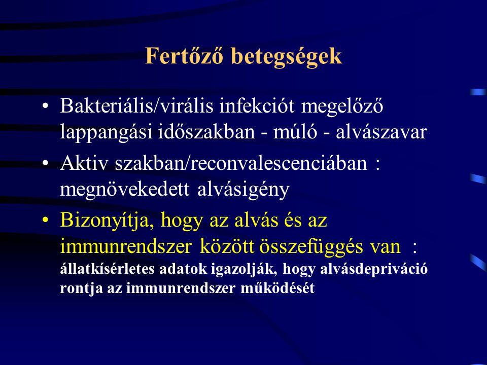 Fertőző betegségek Bakteriális/virális infekciót megelőző lappangási időszakban - múló - alvászavar Aktiv szakban/reconvalescenciában : megnövekedett