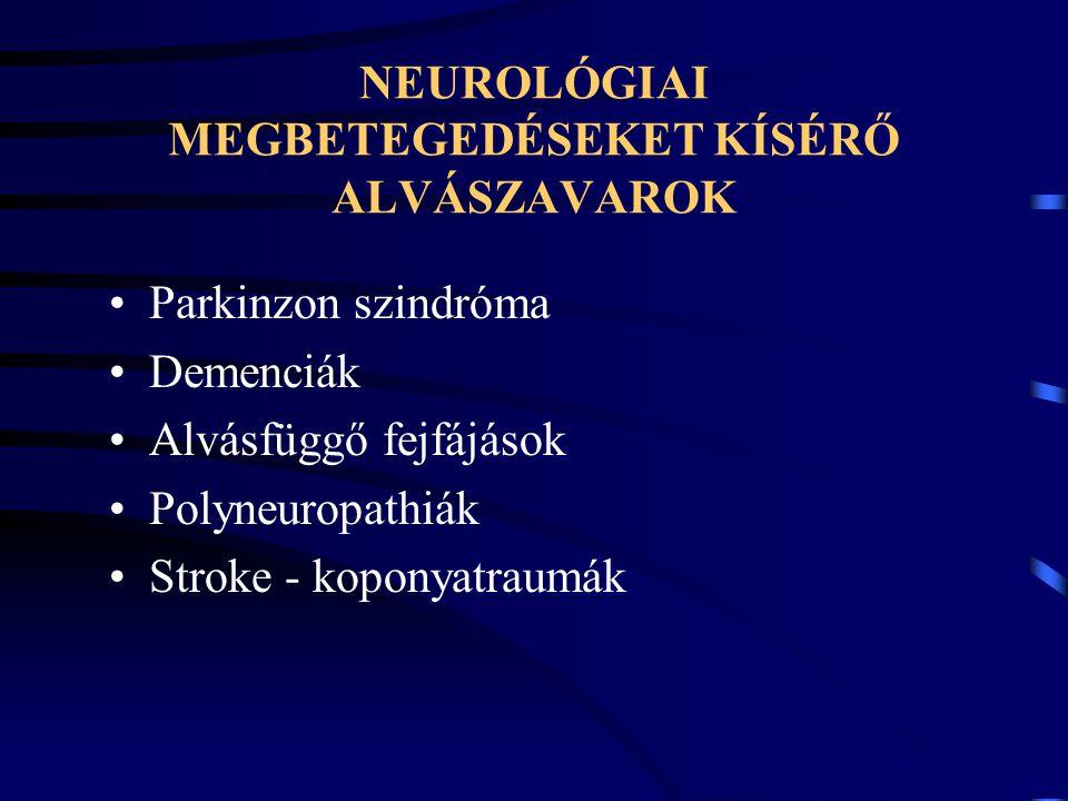 NEUROLÓGIAI MEGBETEGEDÉSEKET KÍSÉRŐ ALVÁSZAVAROK Parkinzon szindróma Demenciák Alvásfüggő fejfájások Polyneuropathiák Stroke - koponyatraumák