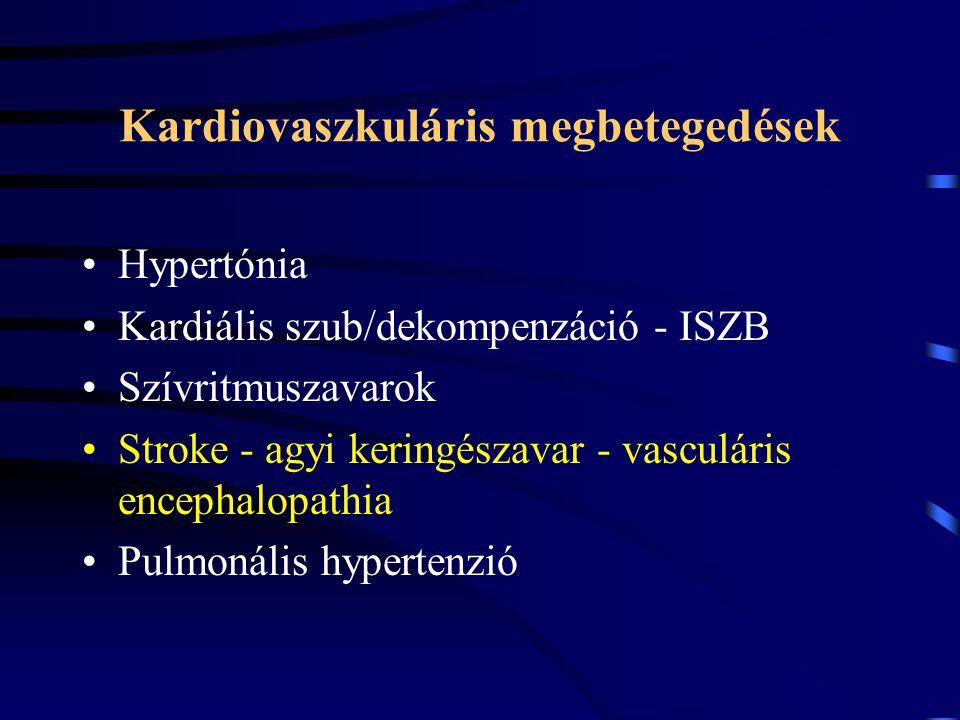 Kardiovaszkuláris megbetegedések Hypertónia Kardiális szub/dekompenzáció - ISZB Szívritmuszavarok Stroke - agyi keringészavar - vasculáris encephalopa