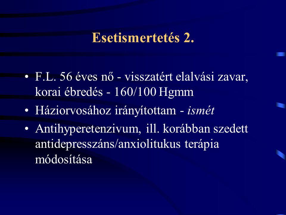 Esetismertetés 2. F.L. 56 éves nő - visszatért elalvási zavar, korai ébredés - 160/100 Hgmm Háziorvosához irányítottam - ismét Antihyperetenzivum, ill