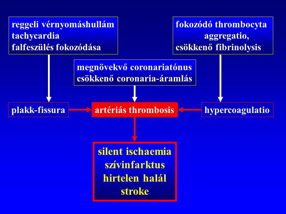 reggeli vérnyomáshullám tachycardia falfeszülés fokozódása megnövekvő coronariatónus csökkenő coronaria-áramlás fokozódó thrombocyta aggregatio, csökk