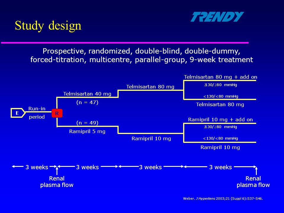 Study design E R 3 weeks Renal plasma flow Run-in period Telmisartan 80 mg <130/<80 mmHg 130/80 mmHg Telmisartan 40 mg Telmisartan 80 mg Ramipril 5