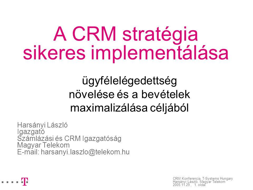 CRM Konferencia, T-Systems Hungary Harsányi László, Magyar Telekom 2005.11.29., 1. oldal A CRM stratégia sikeres implementálása Harsányi László Igazga