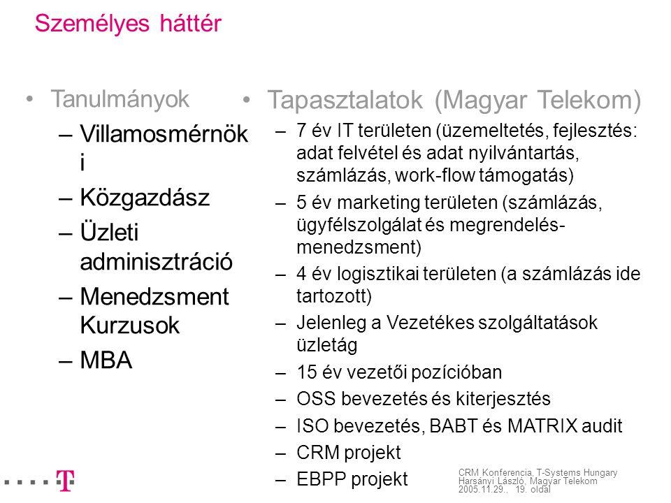 CRM Konferencia, T-Systems Hungary Harsányi László, Magyar Telekom 2005.11.29., 19. oldal Személyes háttér Tanulmányok – Villamosmérnök i – Közgazdász