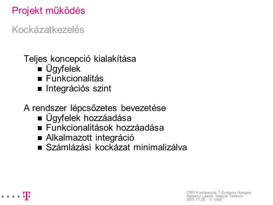 CRM Konferencia, T-Systems Hungary Harsányi László, Magyar Telekom 2005.11.29., 9. oldal Projekt működés Kockázatkezelés Teljes koncepció kialakítása