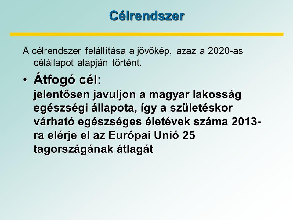 Célrendszer A célrendszer felállítása a jövőkép, azaz a 2020-as célállapot alapján történt.