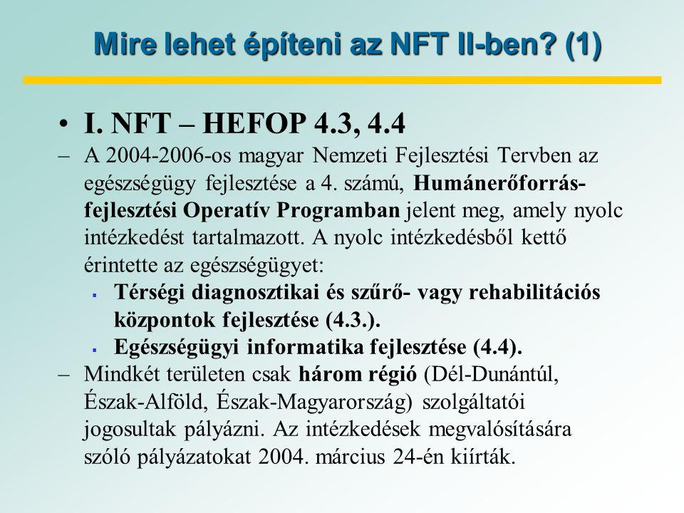 Mire lehet építeni az NFT II-ben. (1) I.