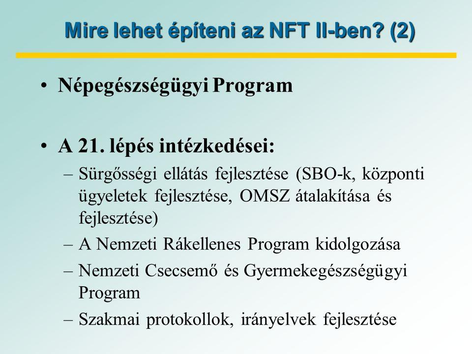 Mire lehet építeni az NFT II-ben. (2) Népegészségügyi Program A 21.
