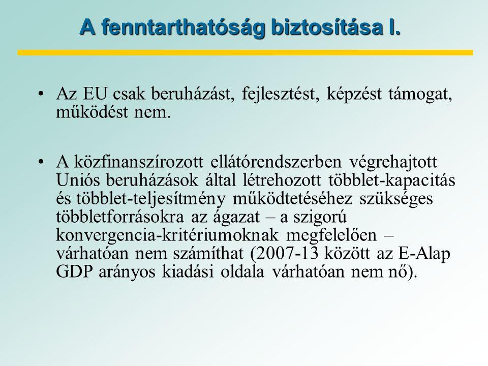 A fenntarthatóság biztosítása I. Az EU csak beruházást, fejlesztést, képzést támogat, működést nem.