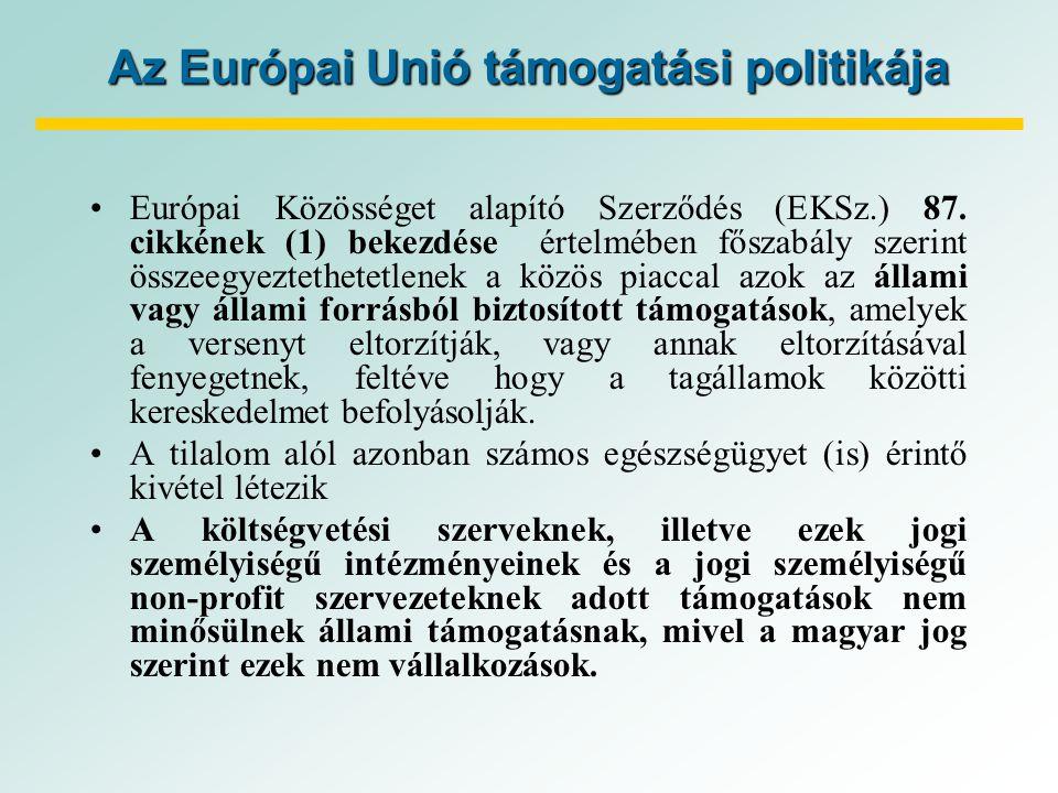 Az Európai Unió támogatási politikája Európai Közösséget alapító Szerződés (EKSz.) 87.